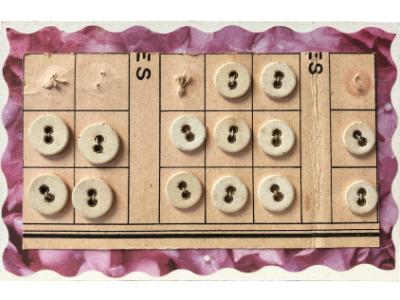 VINTAGE Cream-Colored Round Underwear Buttons on Card with Grids and Scalloped Fuchsia Border MAIN