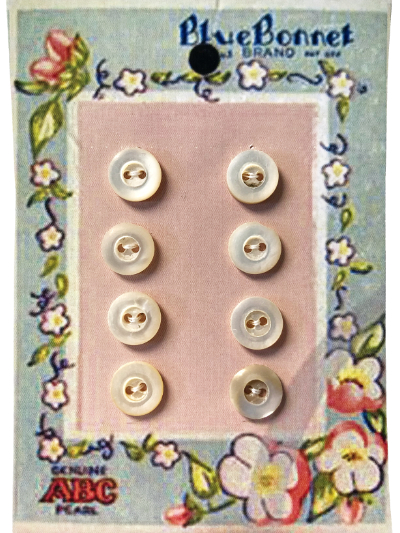 VINTAGE Pearlescent Small Round Buttons on Blue and Pink Floral Blue Bonnet Card MAIN