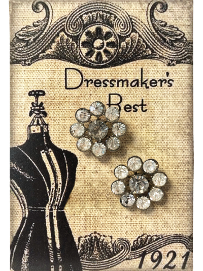 VINTAGE Flower-Shaped Rhinestone Buttons on Card with Dress Form MAIN
