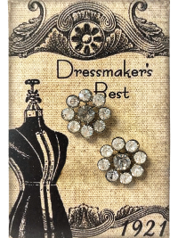 VINTAGE Flower-Shaped Rhinestone Buttons on Card with Dress Form THUMBNAIL
