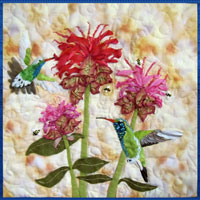 Hummingbirds' Bee-Balmy Day Pattern THUMBNAIL