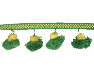 Vintage Pom Pom Trim – Green and Yellow MAIN