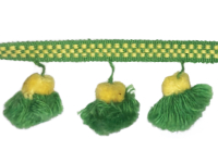 Vintage Pom Pom Trim – Green and Yellow THUMBNAIL