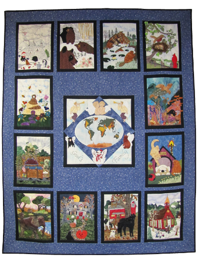 "Piecemakers 2004 Calendar Quilt (Revised) — ""God So Loved the World"" MAIN"
