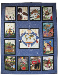 "Piecemakers 2004 Calendar Quilt (Revised) — ""God So Loved the World"" THUMBNAIL"