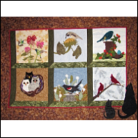 "Wallhanging Featuring Blocks from Piecemakers 2015 Calendar Quilt — ""Nature's Chorus"" – Bottom Rows THUMBNAIL"