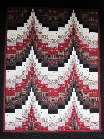 Bargello Wallhanging – Black, White & Red MAIN