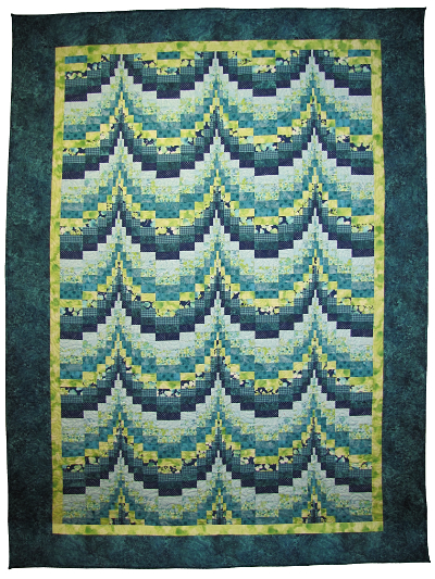 Bargello Quilt – Teal & Green MAIN