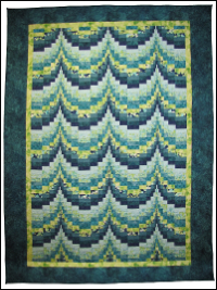 Teal and Green Bargello Quilt THUMBNAIL