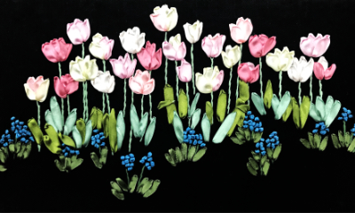 Ribbon Embroidered Field of Tulips MAIN