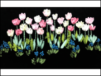 Ribbon Embroidered Field of Tulips THUMBNAIL