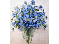 Ribbon Embroidered Forget-Me-Not Bouquet THUMBNAIL