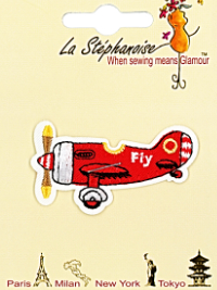 Red Airplane Appliqué by La Stéphanoise - # 15803 col. 003 THUMBNAIL