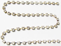 2mm Rhinestone Chain – Clear Crystal Set In Silver THUMBNAIL