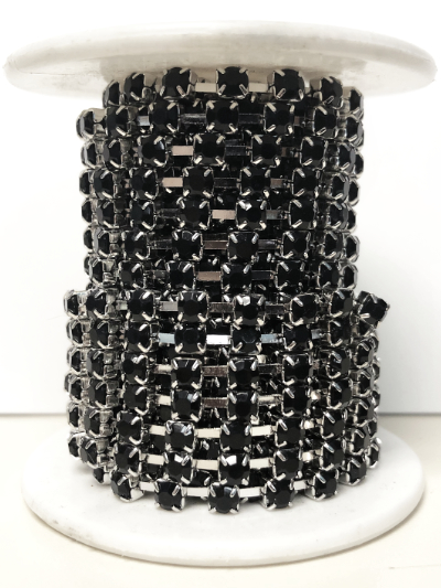 Spool of 3.5mm Rhinestone Cup Chain – Black Rhinestones Set In Silver – 5 Yards MAIN