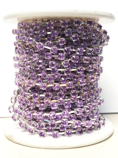Spool of 2mm Rhinestone Chain – Lavender Rhinestones Set In Silver – 4 1/2 Yards MAIN