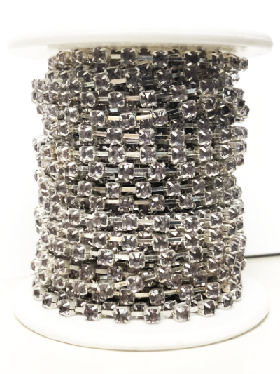 Spool of 2mm Rhinestone Cup Chain – Smoky Rhinestones Set In Silver – 7 Yards MAIN