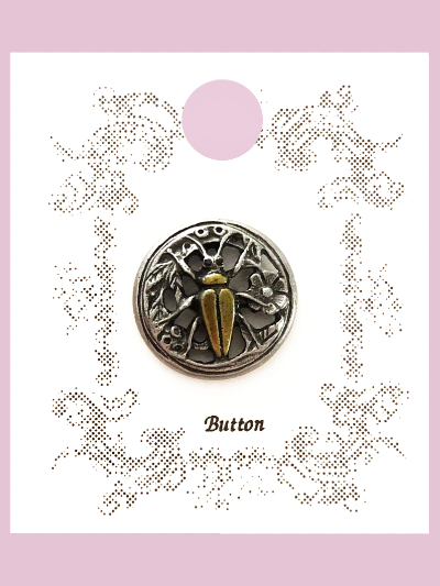 Susan Clarke - Round Pewter Beetle Button MAIN