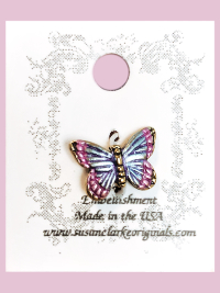 Susan Clarke - Small Lavender and Pink Butterfly Charm THUMBNAIL