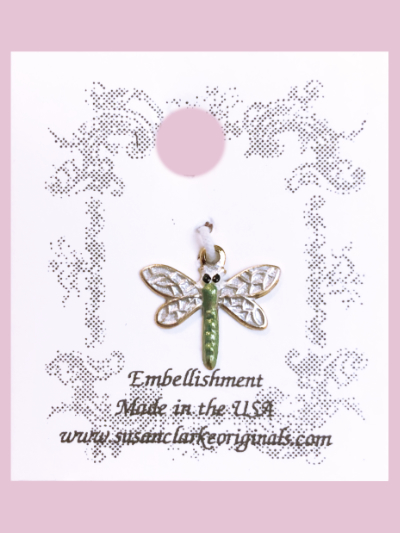 Susan Clarke - Small Green and White Dragonfly Charm MAIN