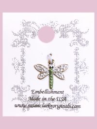 Susan Clarke - Small Green and White Dragonfly Button THUMBNAIL