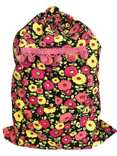 Schlepper Backpack – Pink and Yellow Flowers on Black MAIN