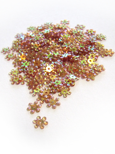 8mm Snowflake Sequins - Copper Base with Purple/Green Lights MAIN