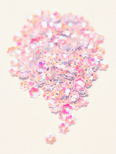 6mm Medium Flower Sequins - pink with cerise/gold lights MAIN