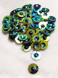 10mm Flying Saucer Sequins — citrus/blue THUMBNAIL
