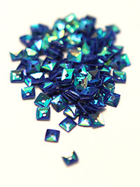 4mm Small Square Sequins - Violet/Turquoise with Blue/Green Lights THUMBNAIL