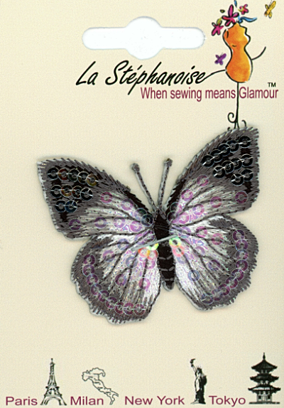 Butterfly Appliqué by La Stéphanoise - # 15338 col. 007 - Silver MAIN