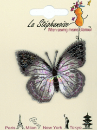 Butterfly Appliqué by La Stéphanoise - # 15338 col. 007 - Silver THUMBNAIL