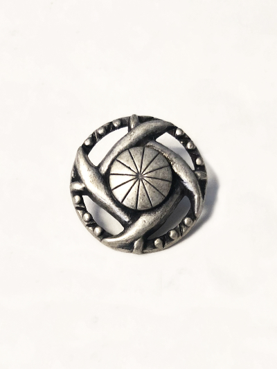 Cast Metal Button with Antique Silver Finish MAIN