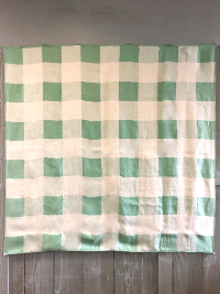 Vintage Tablecloth with Mint Green and Beige Squares THUMBNAIL