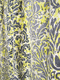 Vintage Barkcloth with Gray and Yellow Print THUMBNAIL