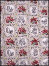 Taupe Vintage Barkcloth with Red and Yellow Floral Patch Print SWATCH