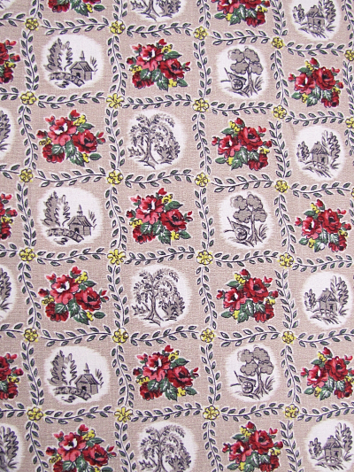 Taupe Vintage Barkcloth with Red and Yellow Floral Patch Print MAIN