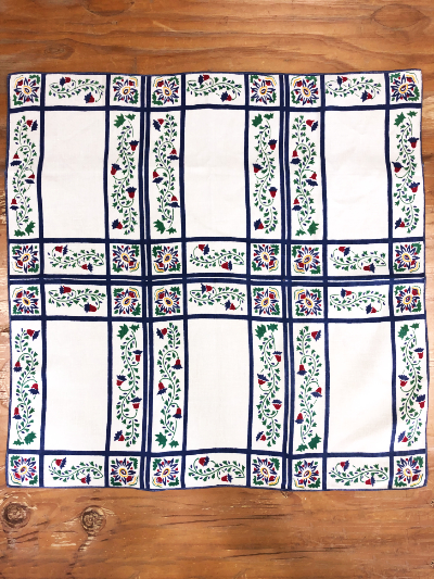 Vintage Tablecloth – Cream Colored Rectangular Sections with Blue Borders and Floral Motifs MAIN