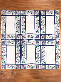 Vintage Tablecloth – Cream Colored Rectangular Sections with Blue Borders and Floral Motifs THUMBNAIL
