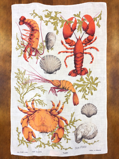 "Vintage Tea Towel – White with ""Sea Food"" Print MAIN"