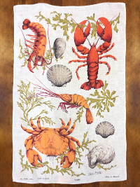"Vintage Tea Towel – White with ""Sea Food"" Print THUMBNAIL"