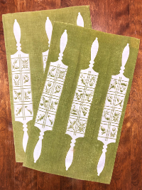 Vintage Tea Towels (Set of 2) – Avocado Green with Rolling Pin Design THUMBNAIL