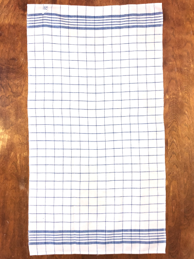 Vintage Tea Towel – White and Blue Plaid MAIN