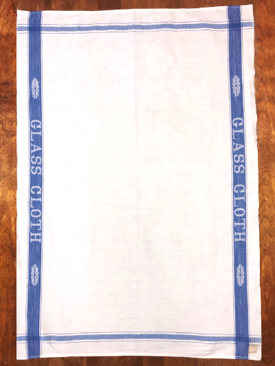 "Vintage Tea Towel – White with ""GLASS CLOTH"" on Blue Border MAIN"