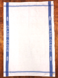 "Vintage Tea Towel – White with ""GLASS CLOTH"" on Blue Border THUMBNAIL"