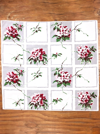 Vintage Tablecloth with Red and Pink Flowers on Gray and White Squares THUMBNAIL