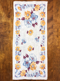 Vintage Tea Towel – White with Floral Print THUMBNAIL