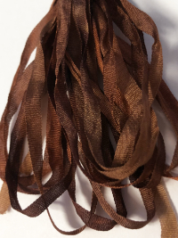 The Thread Gatherer Hand-dyed Silk Ribbon, 4mm — Chocolate Caramel 076 THUMBNAIL
