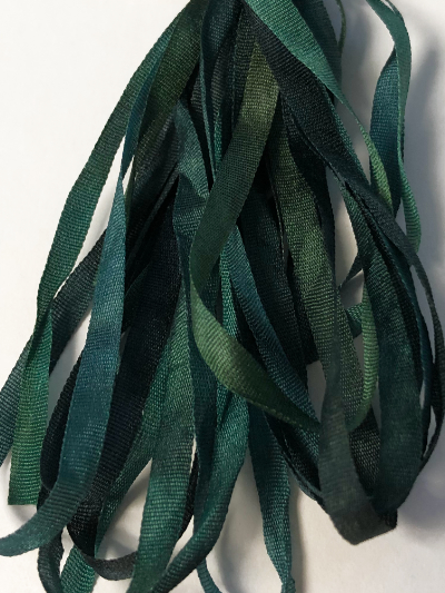 Thread Gatherer Hand-dyed Silk Ribbon, 4mm — Green Leaves 090 MAIN