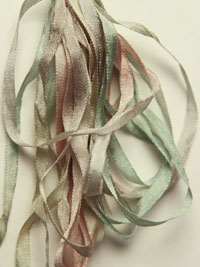 The Thread Gatherer Hand-dyed Silk Ribbon, 4mm — Silvered Celery 079 THUMBNAIL